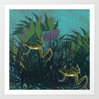 frog Art Prints featuring frog by giancarlo lunardon