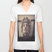 no face V-neck T-shirts featuring Face by Blue Lightning Creative