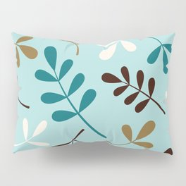 Assorted Leaf Silhouettes Teals Cream Brown Gold Pillow Sham