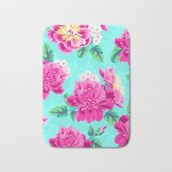 Bright Flowers Pretty Peonies Bath Mat