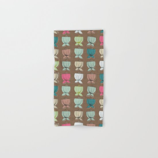 flower cups brown Hand & Bath Towel