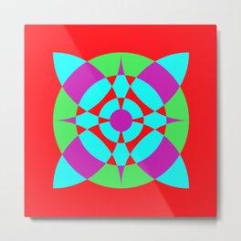 Flower Circles on Red Metal Print
