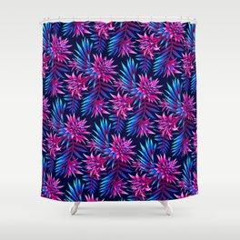 Aechmea Fasciata - Dark Blue/Pink Shower Curtain