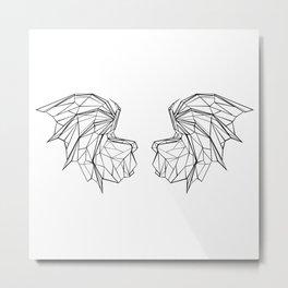 Polygonal Dragon Wings Metal Print