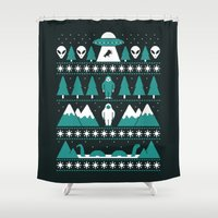 bigfoot Shower Curtains featuring Paranormal Xmas by Teo Zirinis