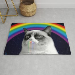 cat all over galaxy rainbow puke Space Crazy Cats Rug