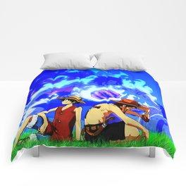 behind his Comforters