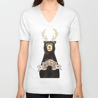 beer V-neck T-shirts featuring Beer by Cale LeRoy