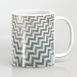 Moroccan floor tiles in green and white chevron Coffee Mug