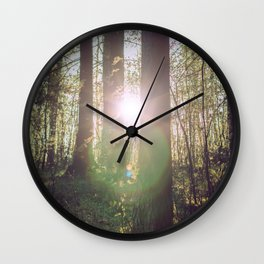 Forest sunset Wall Clock