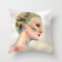 jennifer lawrence Throw Pillows featuring Jennifer Lawrence by Pandora's Box Design Co.