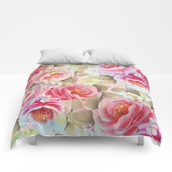 floral in soft pink,blue and green Comforters
