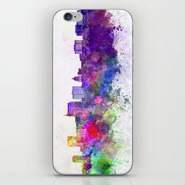 Boise skyline in watercolor background iPhone Skin