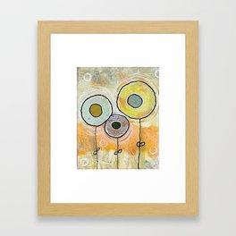 1 blue, 1 grey, 1 lemon flower Framed Art Print