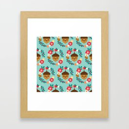 Acorn and Flowers Pattern Design / Blue Framed Art Print