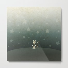 Small winged polka-dotted beige cat and stars Metal Print