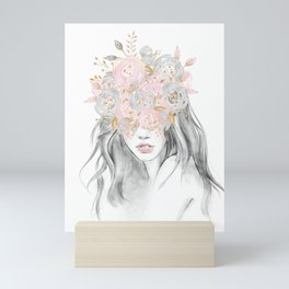 She Wore Flowers in Her Hair Rose Gold by Nature Magick Mini Art Print