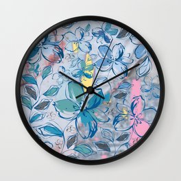 Drawing flowers - abstract background Wall Clock