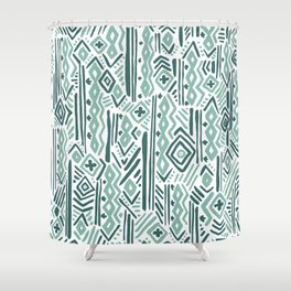 Abstract mauve green teal white tribal pattern Shower Curtain