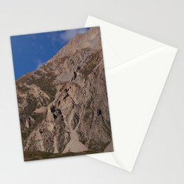 House Dwarfed by Mountain way to Thorung Phedi Stationery Cards