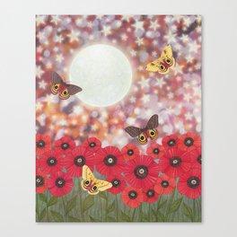 the moon, stars, io moths, & poppies Canvas Print