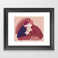 kiss under the umbrella Framed Art Print