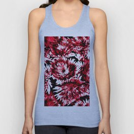 Red Black Abstract Flower Pattern  #Dahlias #Flowers Unisex Tank Top
