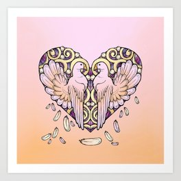 Lover Pigeons - Royal Heart Art Print