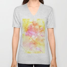 Pink and Yellow Abstract Unisex V-Neck