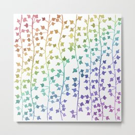 Watercolor Vines Pattern - Pastel Rainbow Metal Print