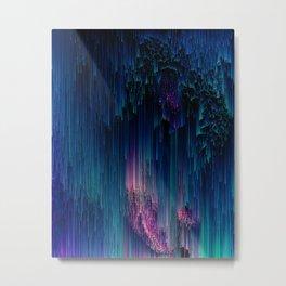 Glitchy Night - Abstract Pixel Art Metal Print