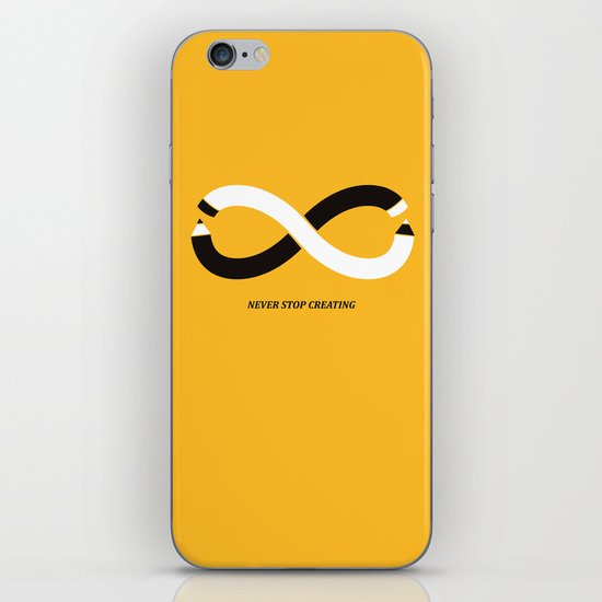Never stop creating (the infinity pencil) iPhone & iPod Skin