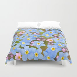 Forget-me-not flowers and buds - summer meadow Duvet Cover