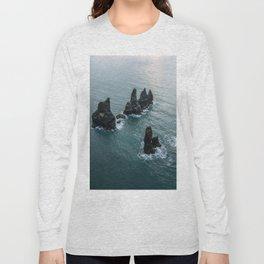 Sea stacks on the Icelandic Coast near Vik - Landscape Photography Long Sleeve T-shirt