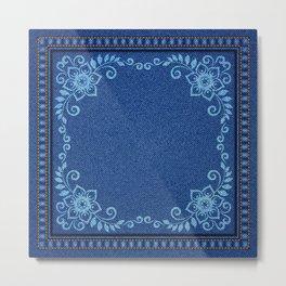 Bandana - Denim - Florals - Blue - Jeans Metal Print