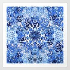 Sapphire Crochet Mandala Art Print