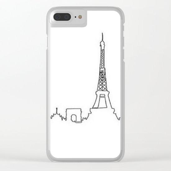 Paris, France Outline (Eiffel Tower, Notre Dame) Clear iPhone Case