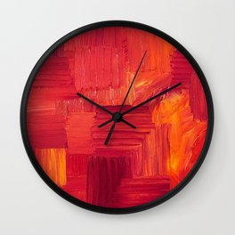 Fiery, Vibrant Oil Painting. Passionate Bright Red and Orange Abstract Art.  Wall Clock
