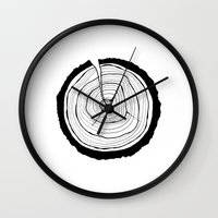 tree rings Wall Clocks featuring Tree Rings by Kristy Ann