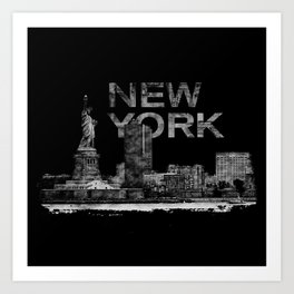 New York City Sketch  - mixed media Art Print