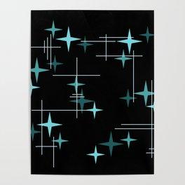 Mid Century Modern Stars Black Teal Poster