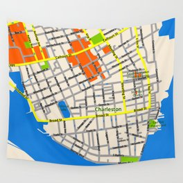 Map of Charleston, SC Wall Tapestry