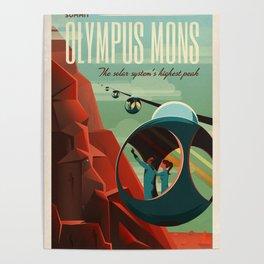 Vintage Adventure Travel Olympus Mons Poster