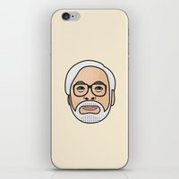 hayao miyazaki iPhone & iPod Skins featuring Hayao Miyazaki Portrait - Beige by Cedric S Touati
