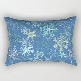 icy snowflakes on blue Rectangular Pillow
