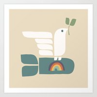 Peace dove and rainbow bomb Art Print