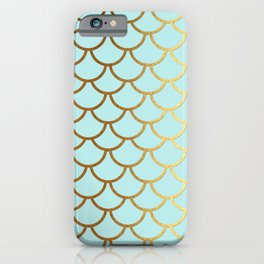 Aqua Teal And Gold Foil MermaidScales - Mermaid Scales iPhone Case