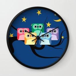 Hooty Rainbow of Owls Wall Clock