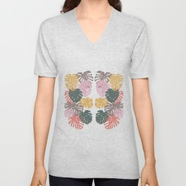Multicolor Swiss Cheese Plant Leaves Unisex V-Neck