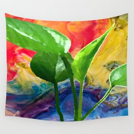 Abstract Pothos Wall Tapestry